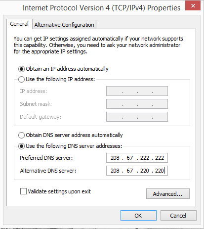 OpenDNS IP Settings